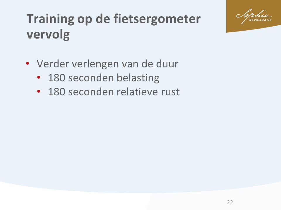 Training op de fietsergometer vervolg Verder verlengen van de duur 180 seconden belasting 180 seconden relatieve rust 22