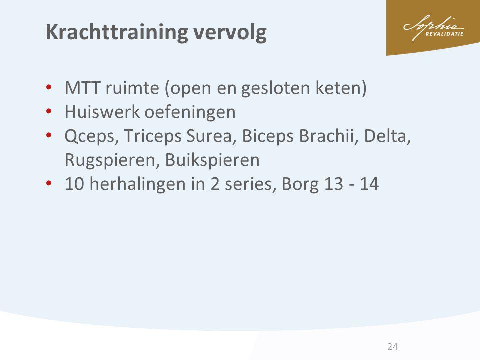 Krachttraining vervolg MTT ruimte (open en gesloten keten) Huiswerk oefeningen Qceps, Triceps Surea, Biceps Brachii, Delta, Rugspieren, Buikspieren 10
