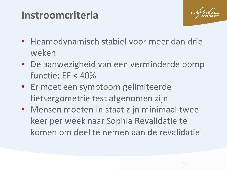 Instroomcriteria Heamodynamisch stabiel voor meer dan drie weken De aanwezigheid van een verminderde pomp functie: EF < 40% Er moet een symptoom gelim