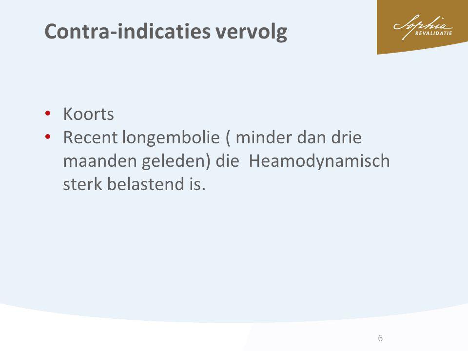 Contra-indicaties vervolg Koorts Recent longembolie ( minder dan drie maanden geleden) die Heamodynamisch sterk belastend is. 6
