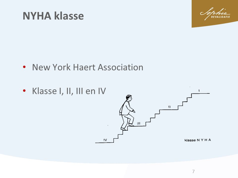 NYHA klasse New York Haert Association Klasse I, II, III en IV 7