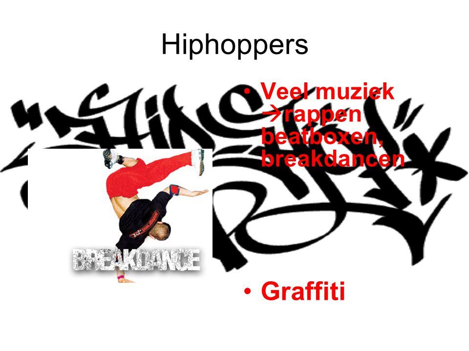 Hiphoppers Veel muziek  rappen beatboxen, breakdancen Graffiti