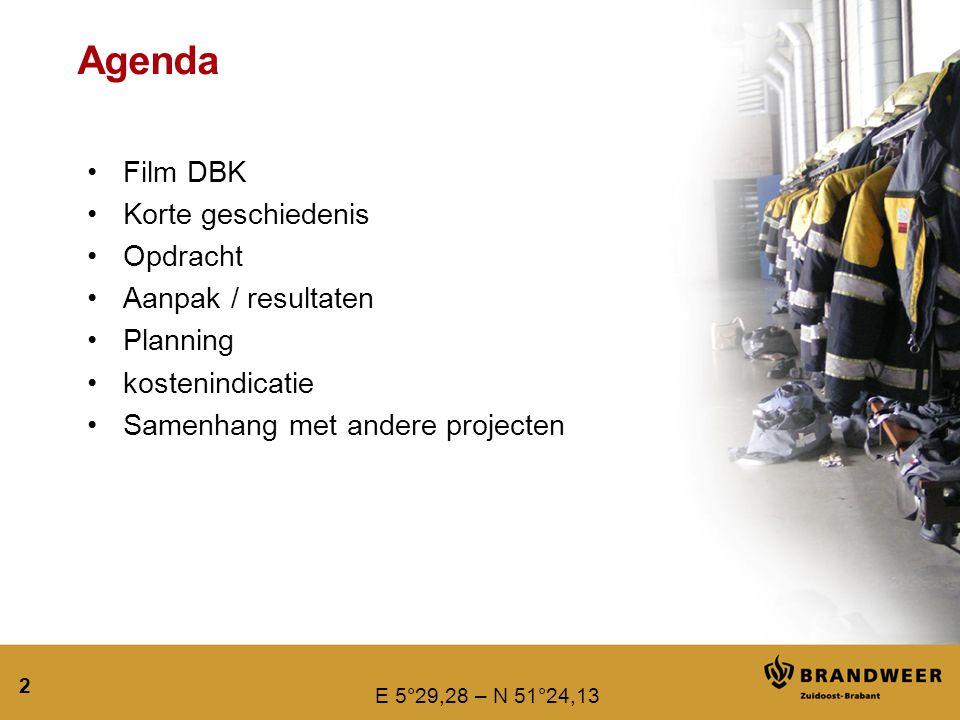 E 5°29,28 – N 51°24,13 2 Agenda Film DBK Korte geschiedenis Opdracht Aanpak / resultaten Planning kostenindicatie Samenhang met andere projecten