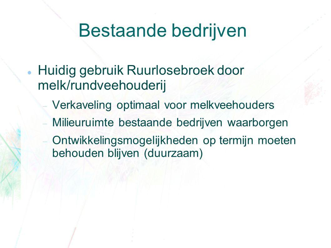 Bestaande bedrijven Huidig gebruik Ruurlosebroek door melk/rundveehouderij  Verkaveling optimaal voor melkveehouders  Milieuruimte bestaande bedrijven waarborgen  Ontwikkelingsmogelijkheden op termijn moeten behouden blijven (duurzaam)