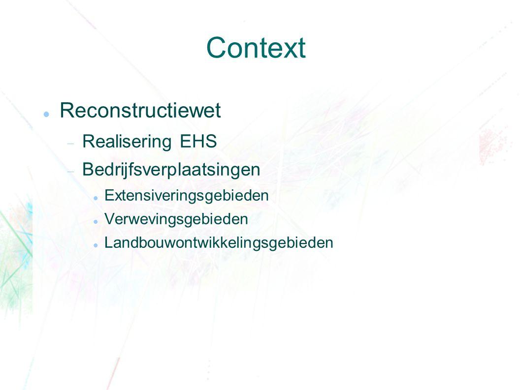 Context Reconstructiewet  Realisering EHS  Bedrijfsverplaatsingen Extensiveringsgebieden Verwevingsgebieden Landbouwontwikkelingsgebieden