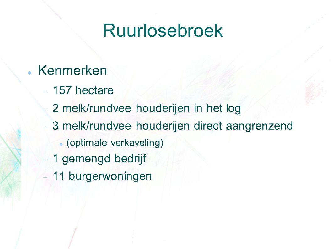 Ruurlosebroek Kenmerken  157 hectare  2 melk/rundvee houderijen in het log  3 melk/rundvee houderijen direct aangrenzend (optimale verkaveling)  1 gemengd bedrijf  11 burgerwoningen