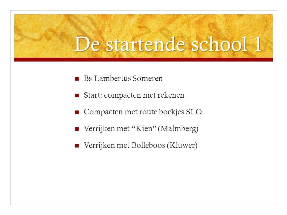 """De startende school 1 Bs Lambertus Someren Start: compacten met rekenen Compacten met route boekjes SLO Verrijken met """"Kien"""" (Malmberg) Verrijken met"""
