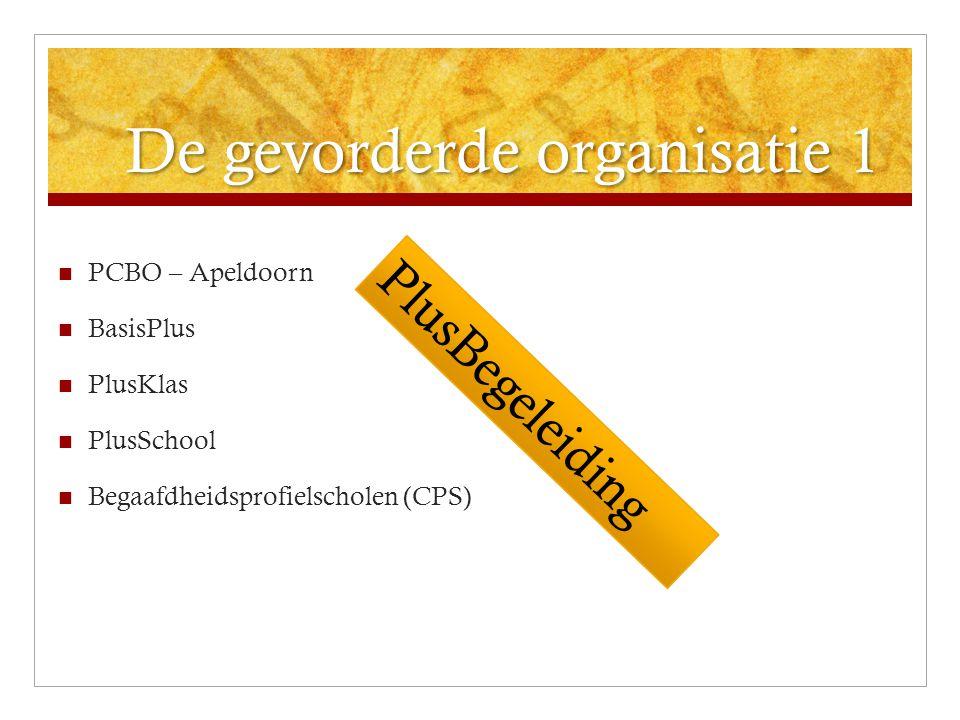De gevorderde organisatie 1 PCBO – Apeldoorn BasisPlus PlusKlas PlusSchool Begaafdheidsprofielscholen (CPS) PlusBegeleiding