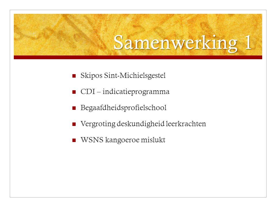 Samenwerking 1 Skipos Sint-Michielsgestel CDI – indicatieprogramma Begaafdheidsprofielschool Vergroting deskundigheid leerkrachten WSNS kangoeroe misl