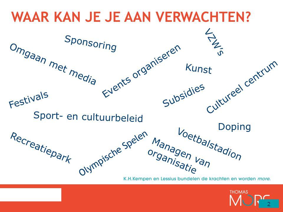 WAAR KAN JE JE AAN VERWACHTEN? 2 Events organiseren Olympische Spelen Doping Sponsoring Omgaan met media Festivals Kunst Recreatiepark Cultureel centr