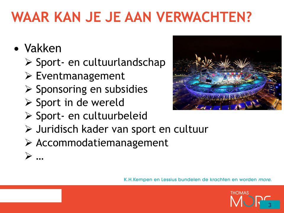 WAAR KAN JE JE AAN VERWACHTEN? Vakken  Sport- en cultuurlandschap  Eventmanagement  Sponsoring en subsidies  Sport in de wereld  Sport- en cultuu