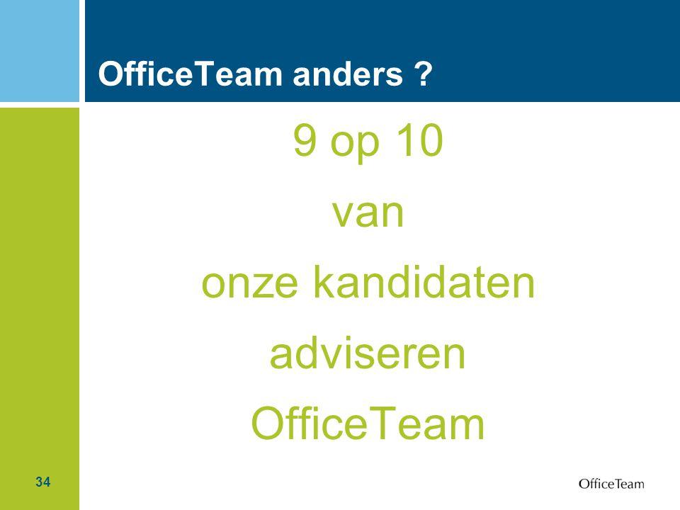 34 OfficeTeam anders ? 9 op 10 van onze kandidaten adviseren OfficeTeam