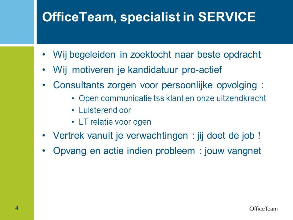 4 OfficeTeam, specialist in SERVICE Wij begeleiden in zoektocht naar beste opdracht Wij motiveren je kandidatuur pro-actief Consultants zorgen voor pe