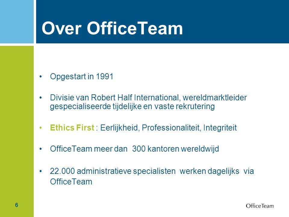 6 Over OfficeTeam Opgestart in 1991 Divisie van Robert Half International, wereldmarktleider gespecialiseerde tijdelijke en vaste rekrutering Ethics F