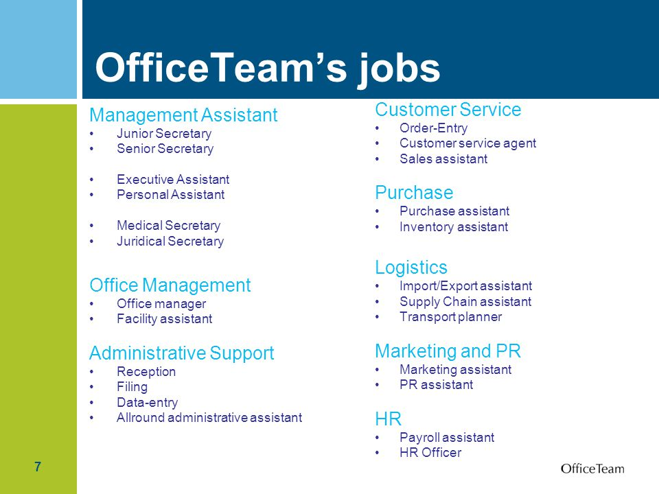 7 OfficeTeam's jobs Management Assistant Junior Secretary Senior Secretary Executive Assistant Personal Assistant Medical Secretary Juridical Secretary Office Management Office manager Facility assistant Administrative Support Reception Filing Data-entry Allround administrative assistant Customer Service Order-Entry Customer service agent Sales assistant Purchase Purchase assistant Inventory assistant Logistics Import/Export assistant Supply Chain assistant Transport planner Marketing and PR Marketing assistant PR assistant HR Payroll assistant HR Officer