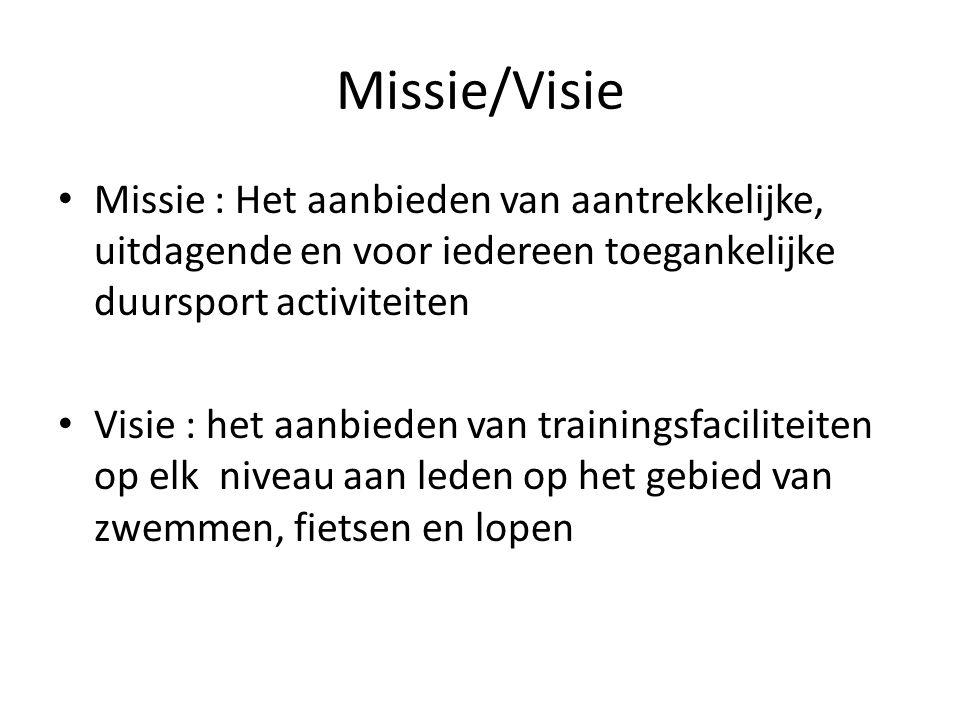 Missie/Visie Missie : Het aanbieden van aantrekkelijke, uitdagende en voor iedereen toegankelijke duursport activiteiten Visie : het aanbieden van tra