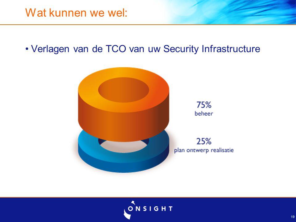 19 Wat kunnen we wel: Verlagen van de TCO van uw Security Infrastructure
