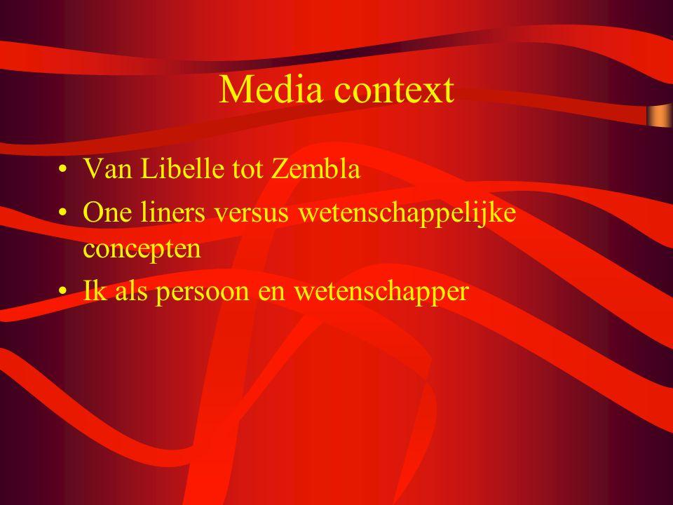 Media context Van Libelle tot Zembla One liners versus wetenschappelijke concepten Ik als persoon en wetenschapper