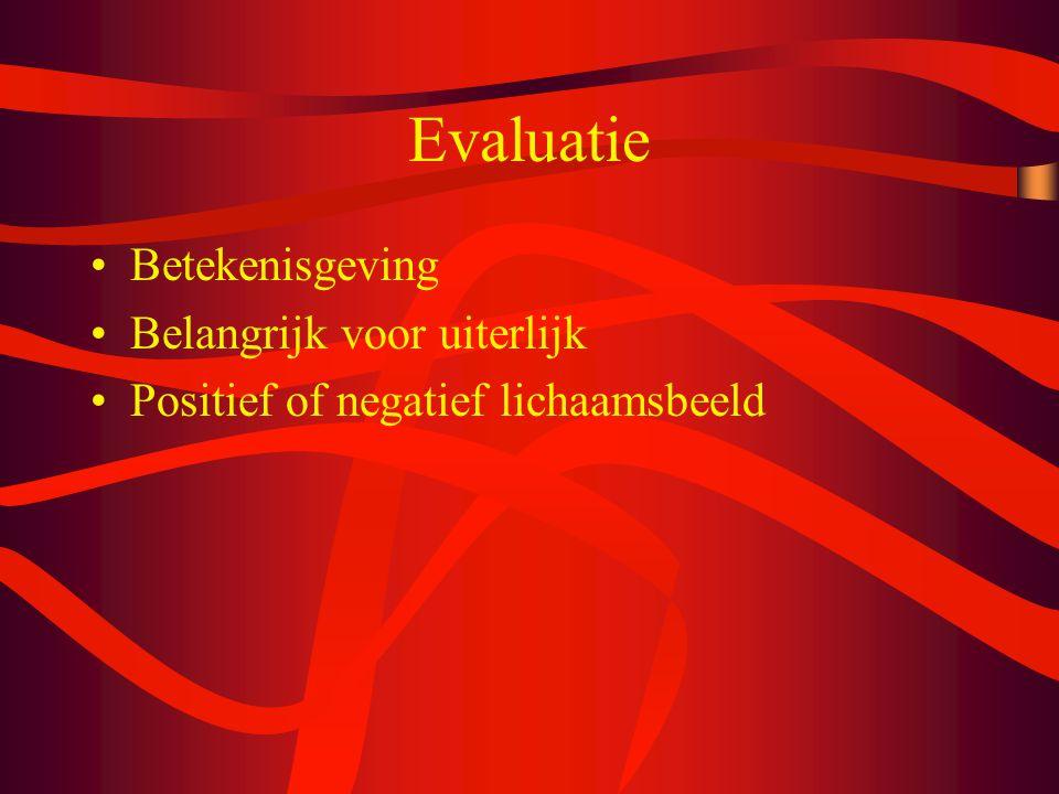 Evaluatie Betekenisgeving Belangrijk voor uiterlijk Positief of negatief lichaamsbeeld