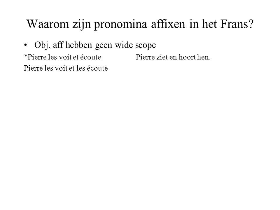 Waarom zijn pronomina affixen in het Frans. Obj.