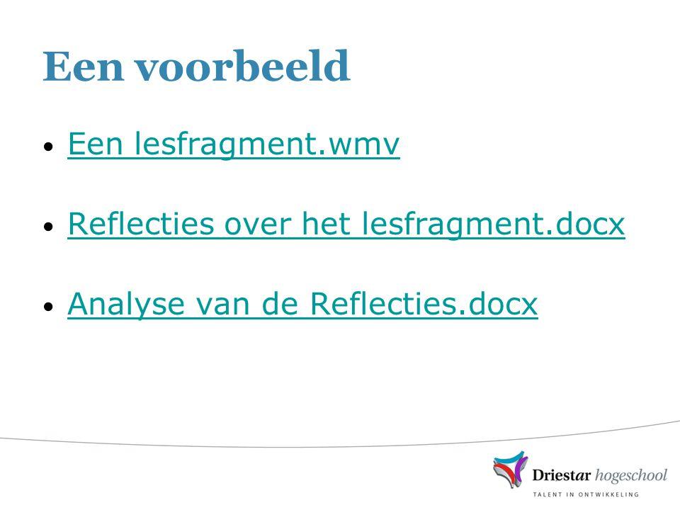 Een voorbeeld Een lesfragment.wmv Reflecties over het lesfragment.docx Analyse van de Reflecties.docx