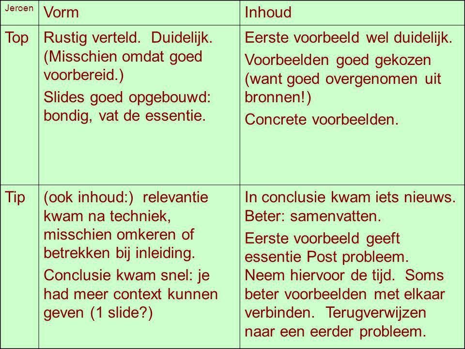 Jeroen VormInhoud TopRustig verteld. Duidelijk. (Misschien omdat goed voorbereid.) Slides goed opgebouwd: bondig, vat de essentie. Eerste voorbeeld we