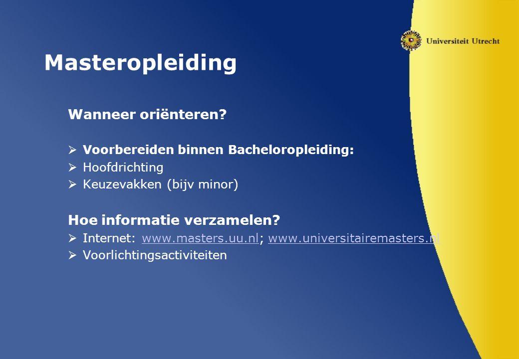 Masteropleiding Wanneer oriënteren.