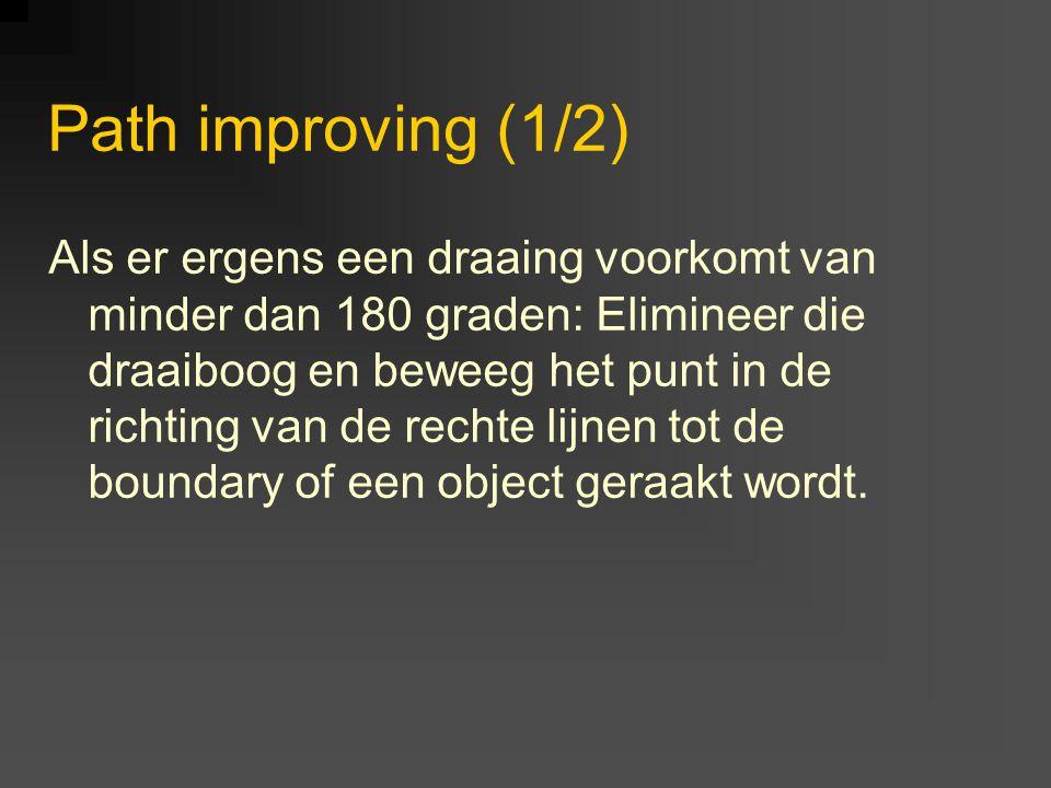 Path improving (1/2) Als er ergens een draaing voorkomt van minder dan 180 graden: Elimineer die draaiboog en beweeg het punt in de richting van de rechte lijnen tot de boundary of een object geraakt wordt.