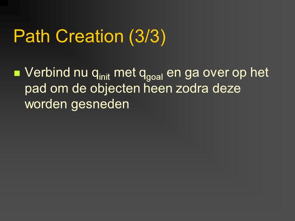 Path Creation (3/3) Verbind nu q init met q goal en ga over op het pad om de objecten heen zodra deze worden gesneden