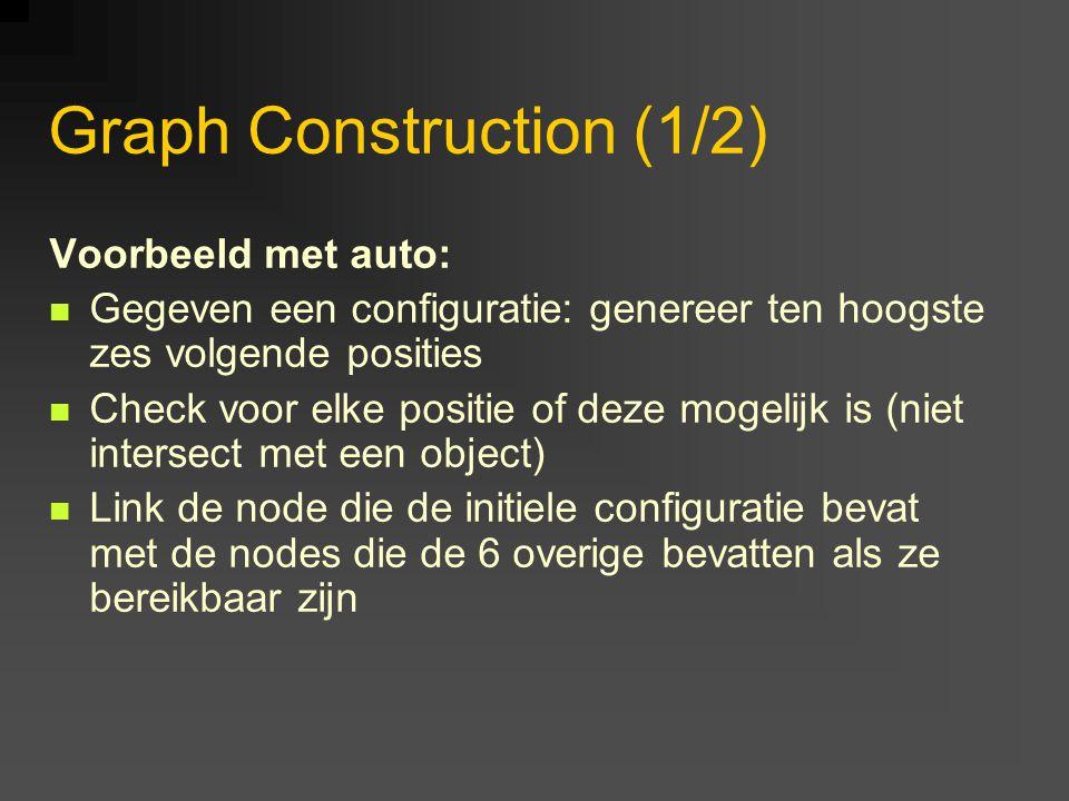 Graph Construction (1/2) Voorbeeld met auto: Gegeven een configuratie: genereer ten hoogste zes volgende posities Check voor elke positie of deze mogelijk is (niet intersect met een object) Link de node die de initiele configuratie bevat met de nodes die de 6 overige bevatten als ze bereikbaar zijn