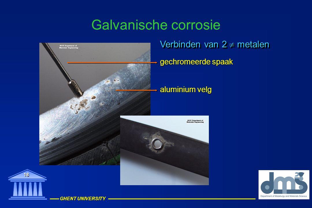 GHENT UNIVERSITY 18 Galvanische corrosie aluminium velg gechromeerde spaak Verbinden van 2  metalen