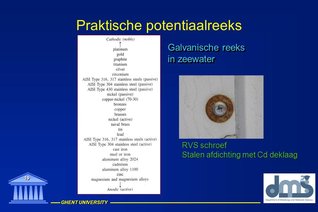 GHENT UNIVERSITY 19 Praktische potentiaalreeks Galvanische reeks in zeewater Galvanische reeks in zeewater RVS schroef Stalen afdichting met Cd deklaa