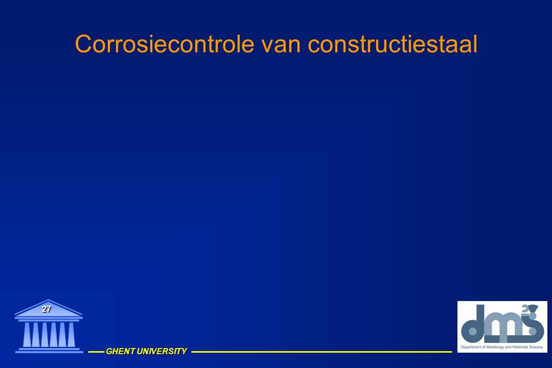 GHENT UNIVERSITY 27 Corrosiecontrole van constructiestaal