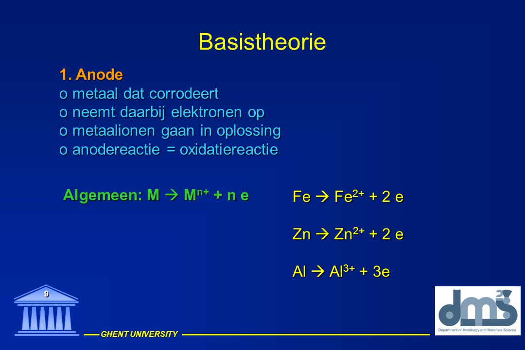 GHENT UNIVERSITY 9 Basistheorie 1. Anode o metaal dat corrodeert o neemt daarbij elektronen op o metaalionen gaan in oplossing o anodereactie = oxidat