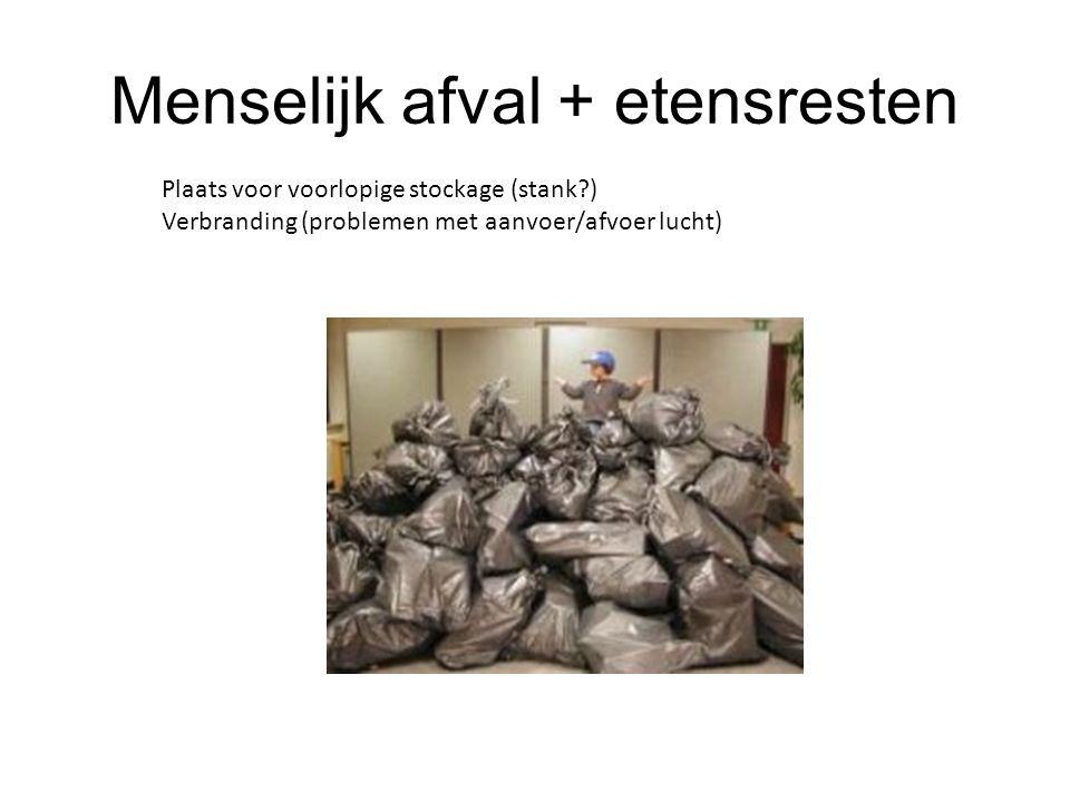 Menselijk afval + etensresten Plaats voor voorlopige stockage (stank?) Verbranding (problemen met aanvoer/afvoer lucht)