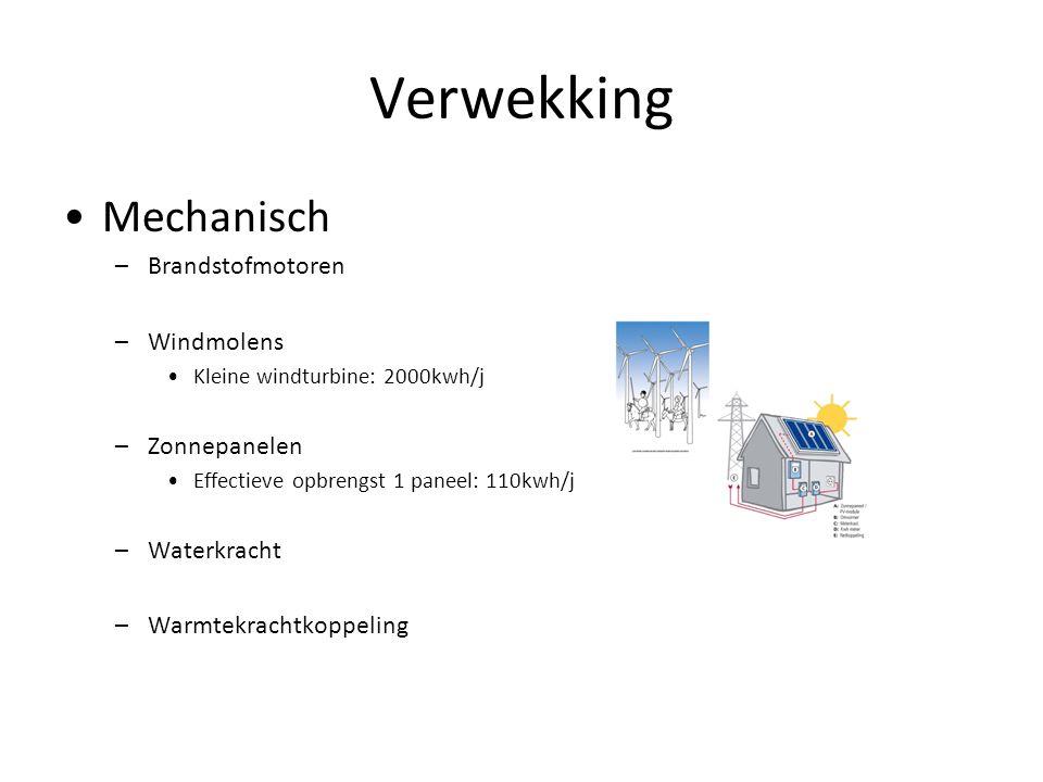 Verwekking Mechanisch –Brandstofmotoren –Windmolens Kleine windturbine: 2000kwh/j –Zonnepanelen Effectieve opbrengst 1 paneel: 110kwh/j –Waterkracht –Warmtekrachtkoppeling