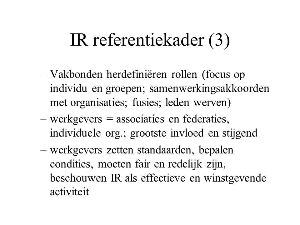 IR referentiekader (3) –Vakbonden herdefiniëren rollen (focus op individu en groepen; samenwerkingsakkoorden met organisaties; fusies; leden werven) –werkgevers = associaties en federaties, individuele org.; grootste invloed en stijgend –werkgevers zetten standaarden, bepalen condities, moeten fair en redelijk zijn, beschouwen IR als effectieve en winstgevende activiteit