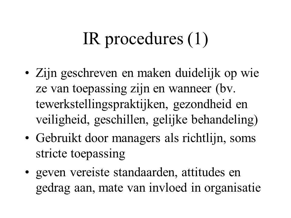 IR procedures (1) Zijn geschreven en maken duidelijk op wie ze van toepassing zijn en wanneer (bv.