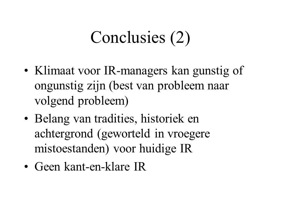 Conclusies (2) Klimaat voor IR-managers kan gunstig of ongunstig zijn (best van probleem naar volgend probleem) Belang van tradities, historiek en achtergrond (geworteld in vroegere mistoestanden) voor huidige IR Geen kant-en-klare IR