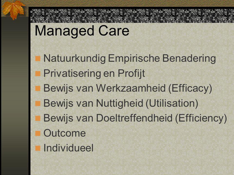 Managed Care Natuurkundig Empirische Benadering Privatisering en Profijt Bewijs van Werkzaamheid (Efficacy) Bewijs van Nuttigheid (Utilisation) Bewijs van Doeltreffendheid (Efficiency) Outcome Individueel