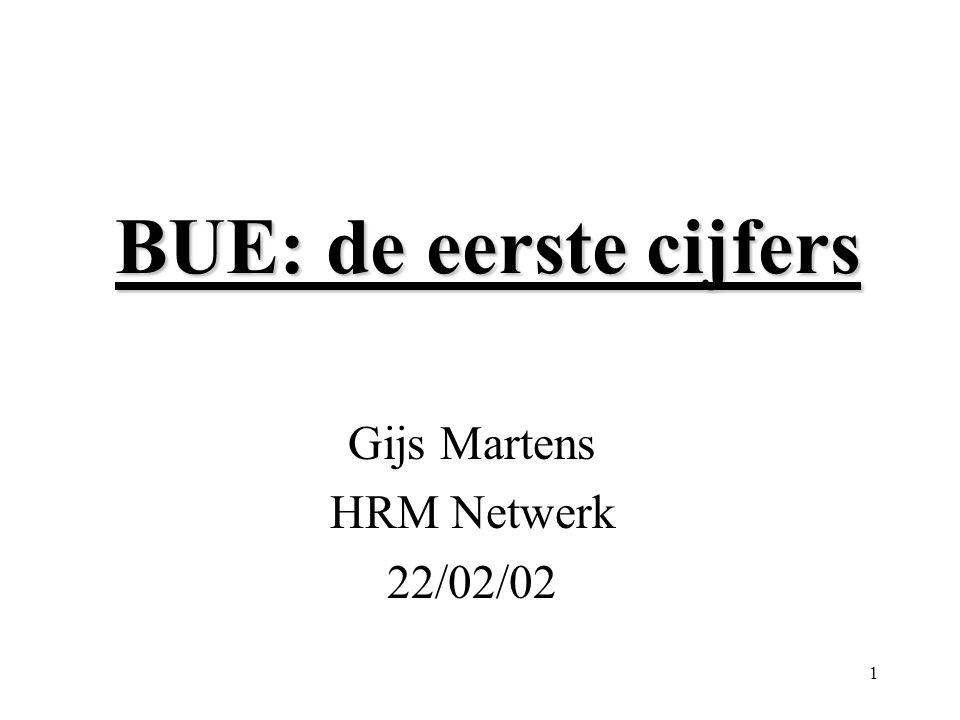 1 BUE: de eerste cijfers Gijs Martens HRM Netwerk 22/02/02