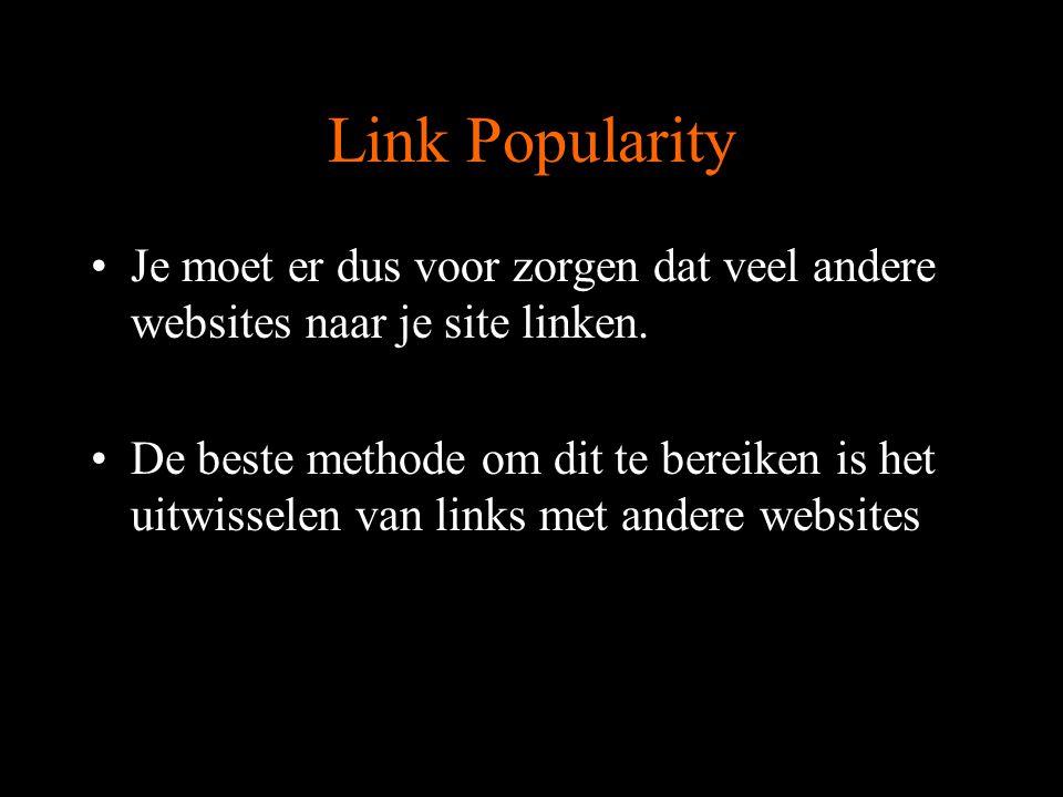 Link Popularity Waar nog linken?