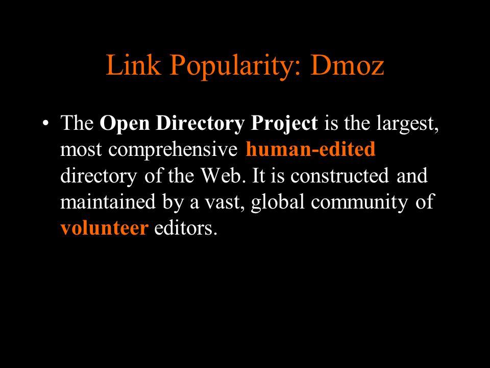 Link Popularity Wie gebruikt de odp data.