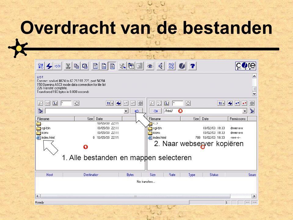 Overdracht van de bestanden 1. Alle bestanden en mappen selecteren 2. Naar webserver kopiëren