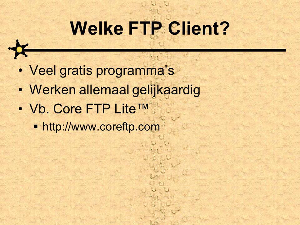 Welke FTP Client? Veel gratis programma's Werken allemaal gelijkaardig Vb. Core FTP Lite™  http://www.coreftp.com