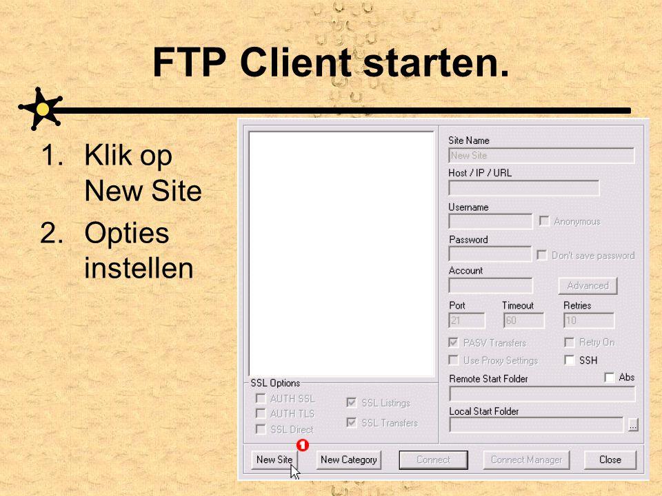FTP Client starten. 1.Klik op New Site 2.Opties instellen