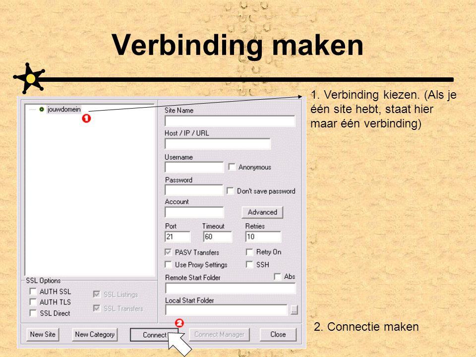 Verbinding maken 1. Verbinding kiezen. (Als je één site hebt, staat hier maar één verbinding) 2. Connectie maken