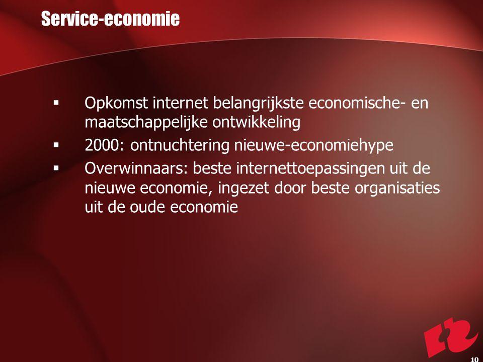 Service-economie  Opkomst internet belangrijkste economische- en maatschappelijke ontwikkeling  2000: ontnuchtering nieuwe-economiehype  Overwinnaars: beste internettoepassingen uit de nieuwe economie, ingezet door beste organisaties uit de oude economie 10