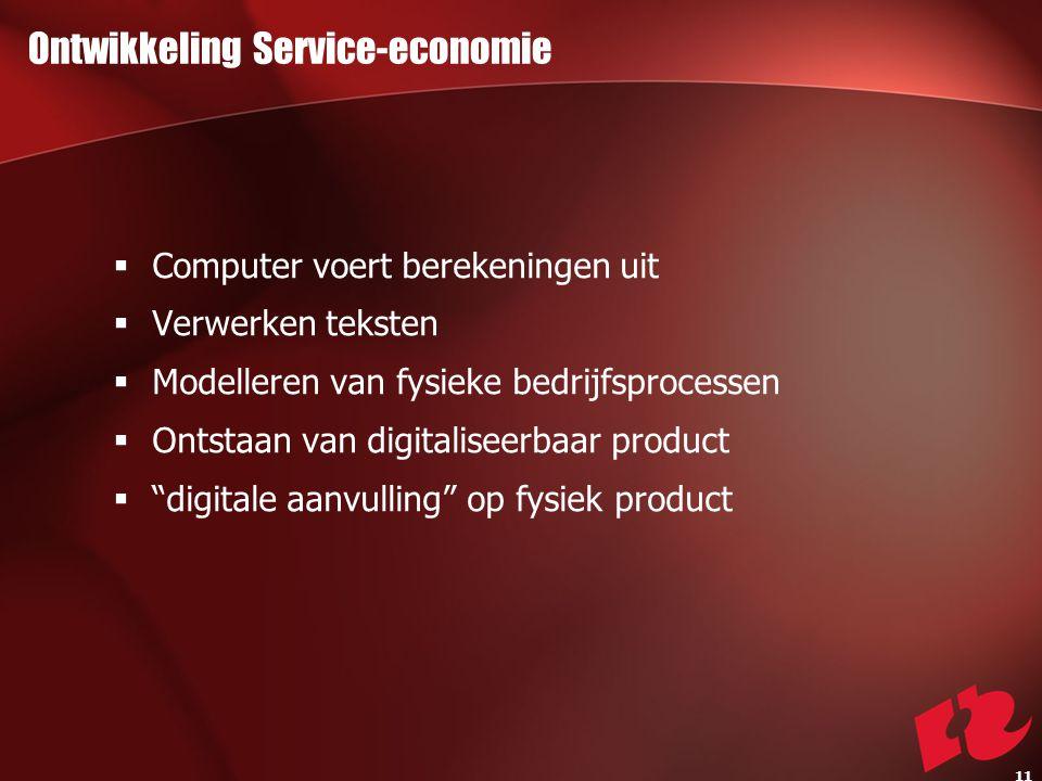 Ontwikkeling Service-economie  Computer voert berekeningen uit  Verwerken teksten  Modelleren van fysieke bedrijfsprocessen  Ontstaan van digitaliseerbaar product  digitale aanvulling op fysiek product 11