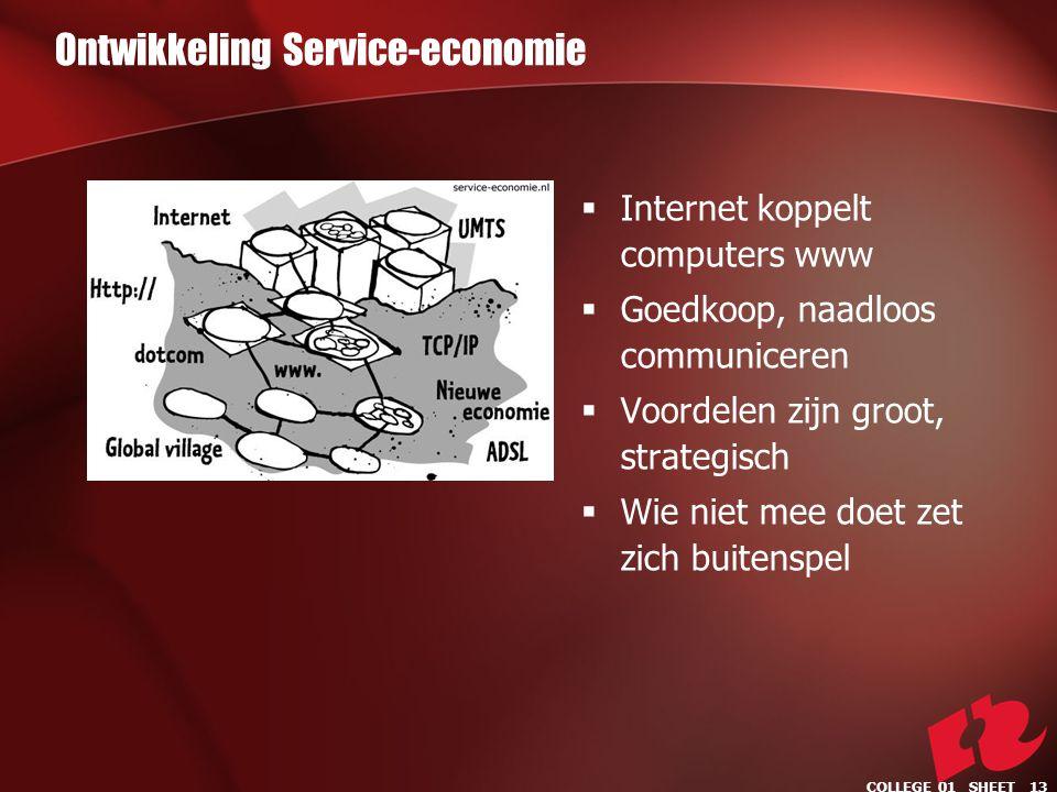 Ontwikkeling Service-economie  Internet koppelt computers www  Goedkoop, naadloos communiceren  Voordelen zijn groot, strategisch  Wie niet mee doet zet zich buitenspel COLLEGE 01 SHEET 13